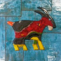 ceramic goat wall decoration