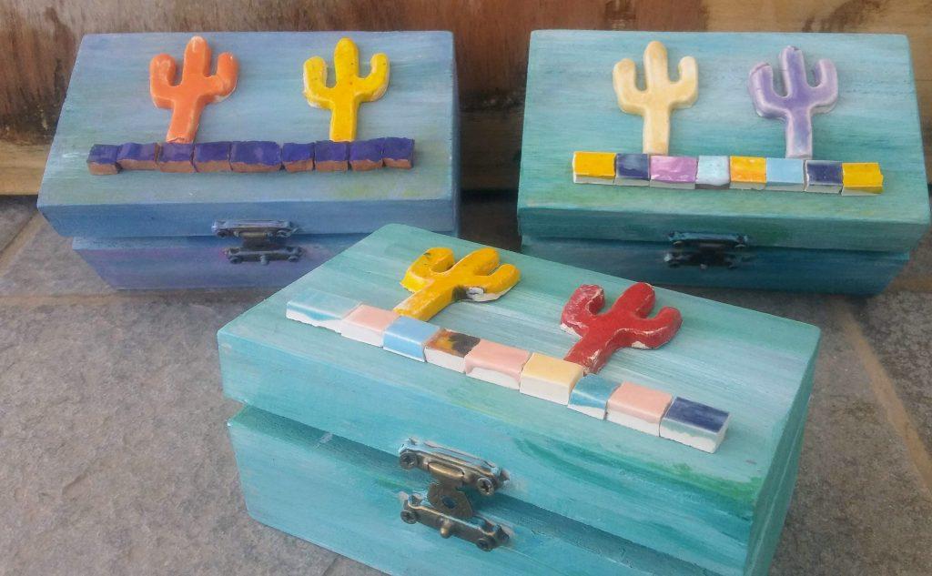 Wooden Box Cactus Decoration - Otro Mar Ceramics