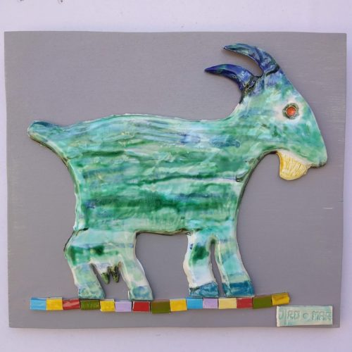 ceramic goat wal decoration