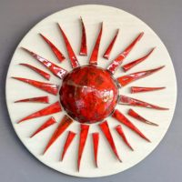 ceramic red sun wall deco